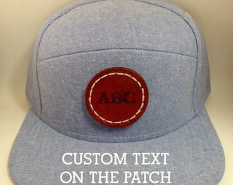 Custom Personalized Snap Back Baseball Hat Cap with Leather Patch, Snapback One size fits all Light Blue Chambray hat