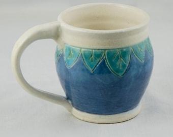 Handmade Stoneware Pottery Coffee Mug, Tea Mug, Blue, Green, and White, Leaves, gifts for her, hand thrown, stoneware, pottery mug