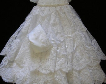 Ruby's Custom Christening or Baptism Gown made to order from your Wedding Dress