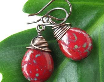 Red teardrop earrings copper wire wrapped Picasso Czech glass
