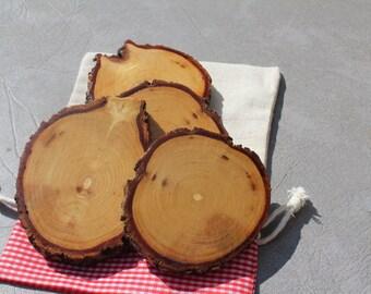 Set of 4 Rustic Walnut Wood Glass Coasters