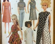 UNCUT Vogue Craft Pattern 7330 11 1/2 Doll Clothes Retro 1960's Style Clothes