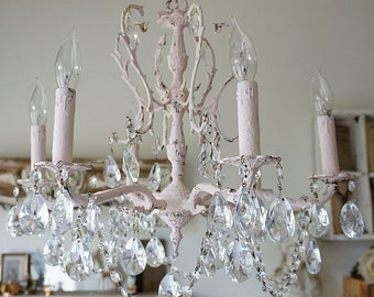 Crystal chandelier lighting shabby cottage chic soft pink distressed ceiling fixture  embellished vintage garland decor anita spero design