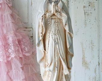 Virgin Mary statue shabby French Nordic white with pale blue large Madonna figure w/ cherub pillar cottage home decor anita spero design