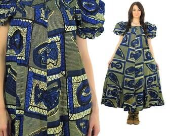 Boho Hippie Dress Blue Vintage 1970s Psychedelic Fish Print Prairie Puff sleeve shift Maxi Tent Vintage Babydoll Medium