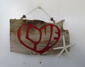 LOVE Driftwood Art with Seastar (Made to Order)