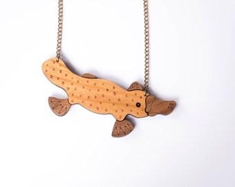 Platypus Necklace. Duck Billed Platypus Pendant. Animal Jewellery. Animal Brooch. Australian Chain. Statement Necklace.