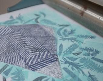 Magical Plant no.32, original linocut monotype print by Paulina R. Vårregn, one of the kind wall decor