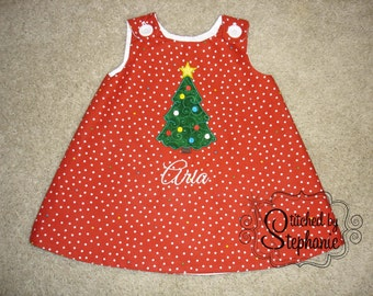 Baby or toddler girls embroidered Christmas tree applique personalized monogrammed red polka dot jumper dress
