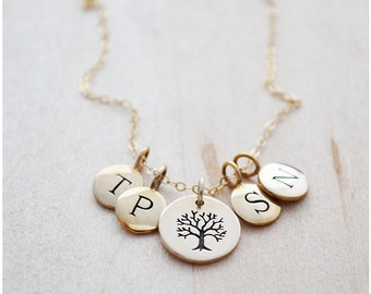 Initial Necklace - Mom Jewelry - Personalized Mother Necklace - Family Tree Necklace - 4 Initials - Bronze & Gold Filled