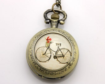 Necklace Pocket watch bike