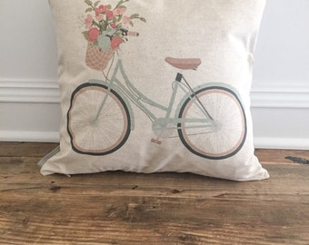 Aqua Bicycle Pillow Cover