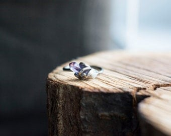 Rough Amethyst Ring ~ Oxidized Black Sterling Silver  ~ Purple ~ Radiant Orchid ~ Silver swirls and a leaf - Rough Terminated amethyst point