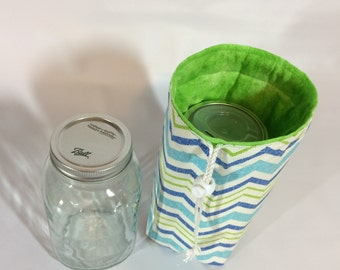 Mason Jar Carrier Bag - Pint Single Jars to Go Bag blue and green chevron lunch snack pouch cozy