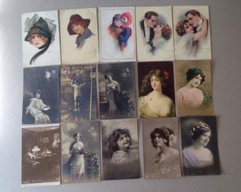 Antique Postcards, RPPC of Beautiful Women, Romantic Postcards, Corbella Postcards, Columbo Woman Postcard, Raphael Tuck 2743