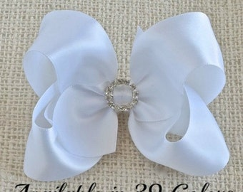 White Hair Bow, Satin Hair Bow, White Satin Hair Bows, Flower Girl Hair Accessories, Girls Hair Bows, Hair Bows for Girls, Hair Bows, Bows