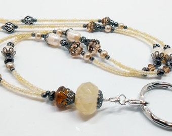 Stunning Crystal and Fresh Water Pearl Lanyard, Beaded ID Lanyard, Beaded ID Badge Lanyard, Elegant ID Lanyard, Cruise Id Necklace, LY22219