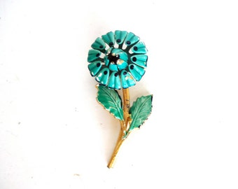 Vintage 1960s Green and Blue Enamel Flower Pin /Brooch