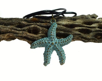 Starfish Necklace, Verdigris Sea Star Pendant Necklace, Ocean Jewelry, Beach Pendant, Sea Life Jewelry, Bohemian Necklace, Boho Jewelry