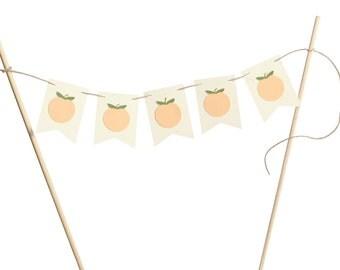Georgia Peach Cake Banenr / Cake Flag Banner / Peach Cake Banner / Ribbon Flag Cake Banner / Peach Cake Topper / Peach Flag Cake Topper /