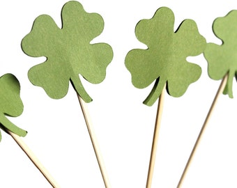 Four Leaf Clover Cupcake Toppers - Shamrock Cupcake Toppers - Irish Cupcake Toppers - St. Patrick's Day Party Decorations - Shamrock Cake