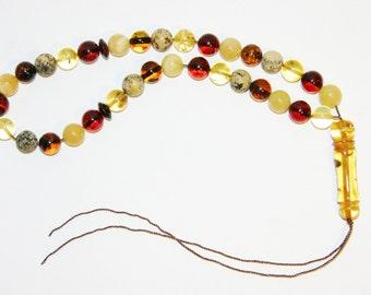 Genuine Baltic Amber 33 pcs Islamic Prayer Beads Misbaha Tasbih Kombolo 9 mm Round Beads Multicolor