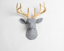 Mini Deer Decor by White Faux Taxidermy - The MINI Isla- Gray and Gold Faux Deer Head Wall Art - Resin Stag Animal Heads & Wall Decor
