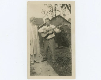Man with Guitar, c1930s: Vintage Snapshot Photo (67483)
