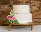 """Gold Cake Stand 14"""" Cupcake Stand Pedestal Stand Vintage Inspired"""