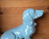 Limited Edition--Aqua Blue Dachshund Wiener Dog Bank
