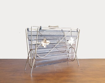 Mid Century Brass Leaves Magazine Rack