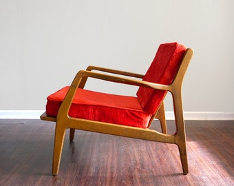Vintage Mid Century Danish Modern Lounge Chair All Original Ib Kofod Larsen Style
