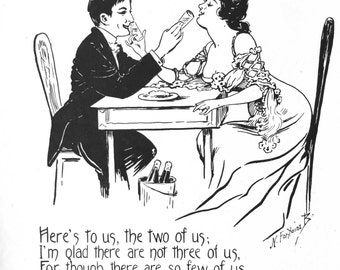 1909 A Little ONE for TWO TOAST Print by Nella Fontaine Binckley