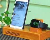 iPhone & Apple Watch Docking Station, the TANDEM in Cherry.