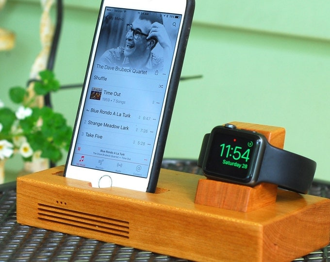 iPhone & Apple Watch Docking Station, the CONCERT Tandem dock in CHERRY.