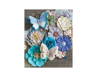 Blue PAPER FLOWERS, Prima French Riviera, Paper Butterflies, Prima Flowers, French Riviera Flowers, Cream Paper Flowers, Mixed Paper Flowers