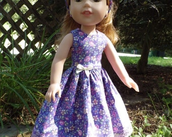 Purple Flora Dress with Pink Lace for 14.5 inch Wellie Wishers Dolls