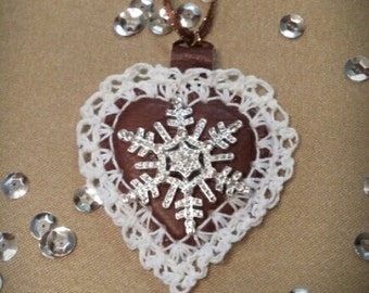 Leather Heart with Snowflake
