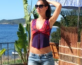 Women's Top With Psychedelic Print, Cute Yoga Top, Purple Summer Top, Pandoras Sunbeam Top