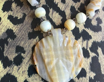 Vintage Carved Stone Tribal Mask & Bead Necklace