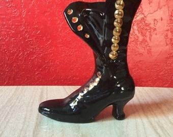 Retro Victorian Style Boot ~ 1970s Glossy Black & Gold Ceramic
