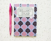 Brilliant Ideas A6 Fabric Covered Notebook Art Deco Fans