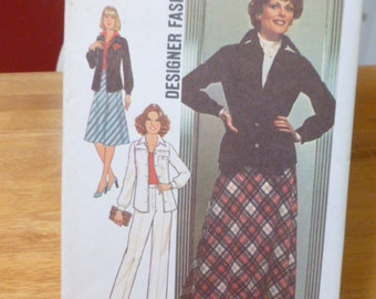 7781 Simplicity Size 14 1/2 Pattern Designer Fashion Bias Skirt in Two Lengths Shirt Jacket Pants Vintage 1976 Uncut