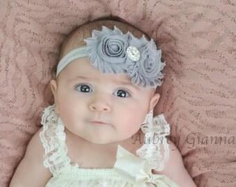 Grey Shabby chic headband, newborn headband,  bow, grey headband, newborn headband, infant headbands, hair bow, newborn prop