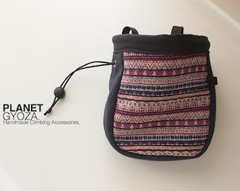 Chalk Bag - Tribal Striped Cotton Woven fabric, Dark Grayish Blue Woolen fabric, Patchwork, v2