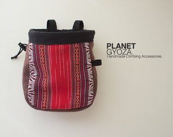 Chalk Bag - Patchwork Striped royal red, white tribal pattern / for girls