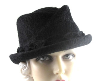 Womens Hat Black Fur Felt Fedora Cloche Handmade Hat Church Mother of the Bride Ascot Derby Races Prom Art Deco Custom Made for Each Client