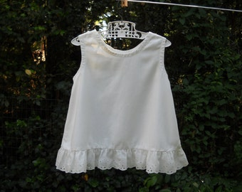 Vintage Handmade White Cotton Baby-Toddler Dress / Slip circa 1930s to 40s