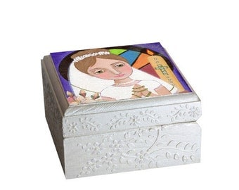 First Communion Rosary box, Jewelry Box Wood Handmade Religious art  Wooden Trinket Box Treasure Box Handmade, storage organization art box