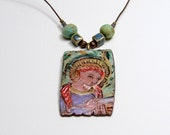 Madonna Necklace with Handmade Beads, Mother Mary on Handcrafted Ceramic Tile Pendant